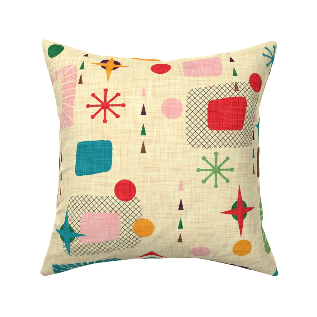 Catalan Throw Pillow featuring 1950s atomic pattern by bruxamagica