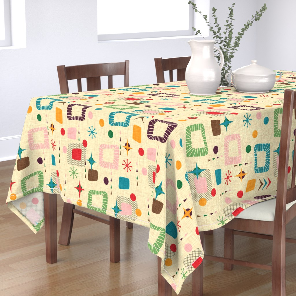Bantam Rectangular Tablecloth featuring 1950s atomic pattern by bruxamagica