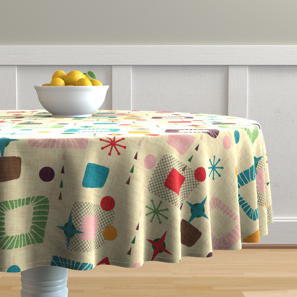 Malay Round Tablecloth featuring 1950s atomic pattern by bruxamagica