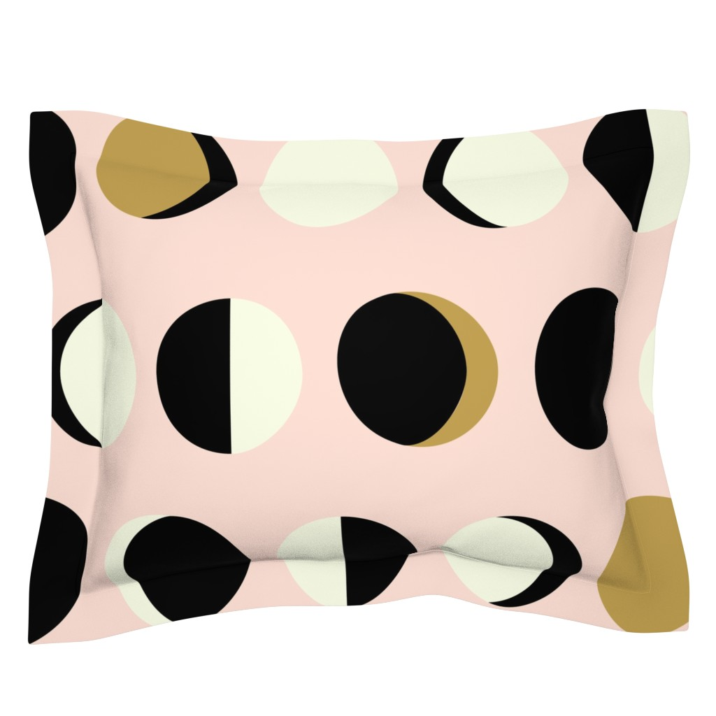 Sebright Pillow Sham featuring Mod Moons Blush Large Scale by nadiahassan