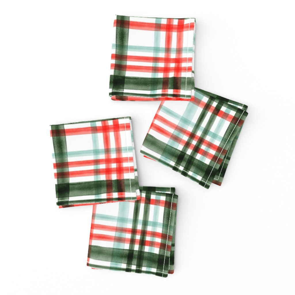 Frizzle Cocktail Napkins featuring Christmas watercolor plaid (mint) by littlearrowdesign