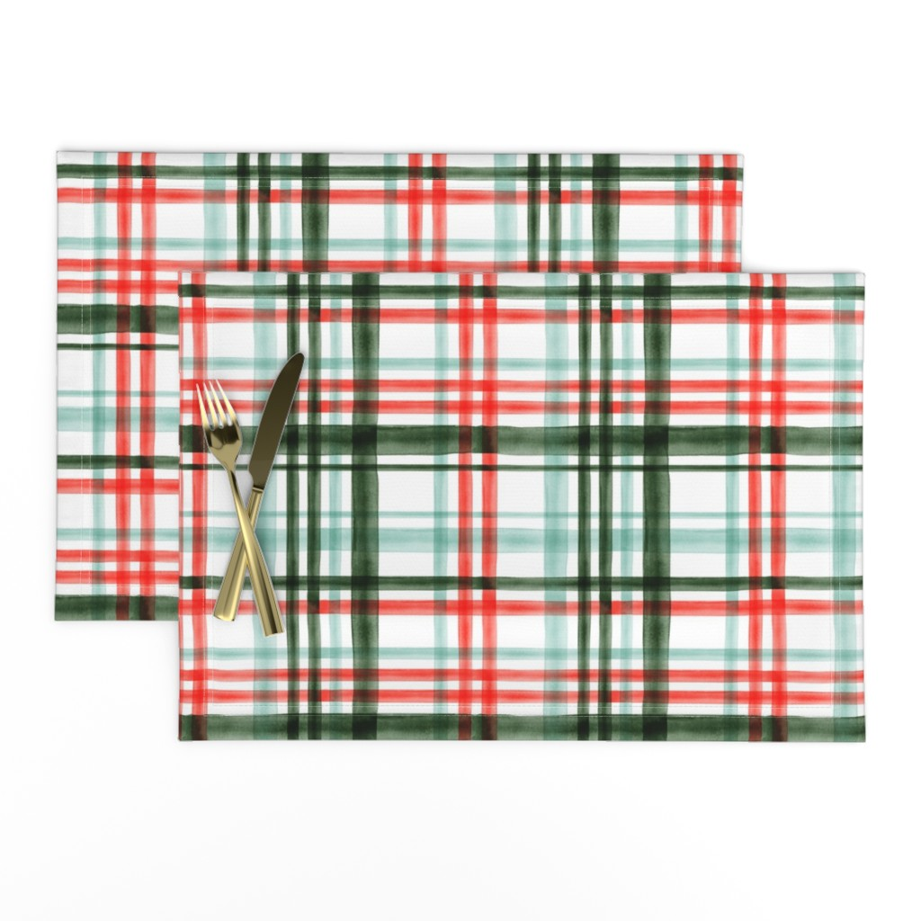 Lamona Cloth Placemats featuring Christmas watercolor plaid (mint) by littlearrowdesign