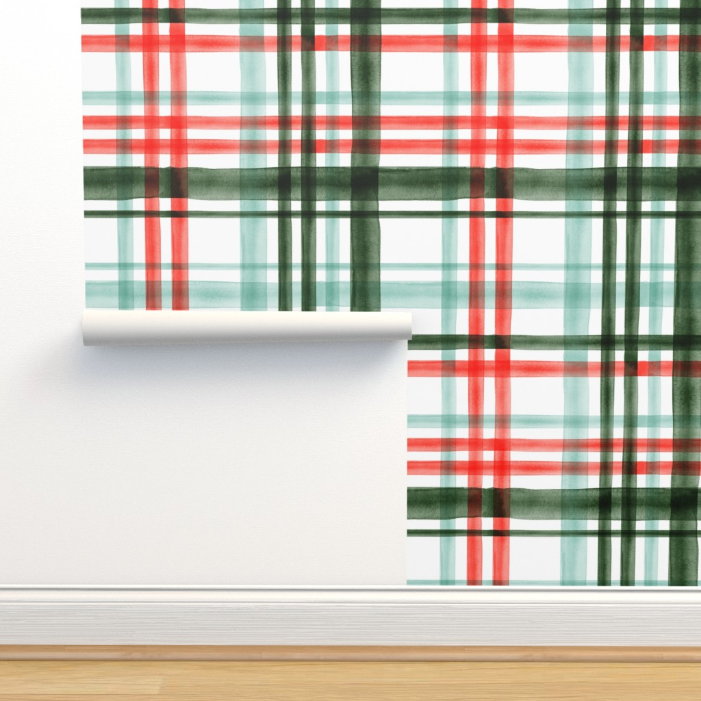 Isobar Durable Wallpaper featuring Christmas watercolor plaid (mint) by littlearrowdesign