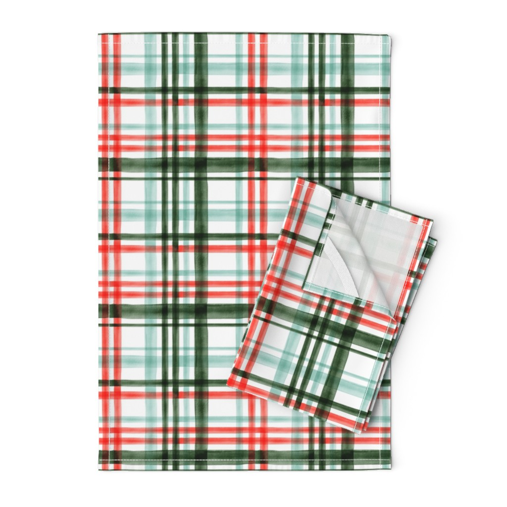 Orpington Tea Towels featuring Christmas watercolor plaid (mint) by littlearrowdesign