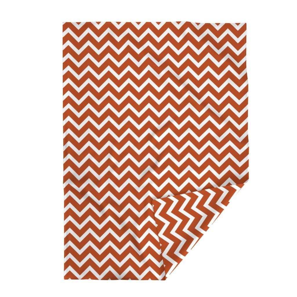 Lakenvelder Throw Blanket featuring orange chevron large scale by amybethunephotography