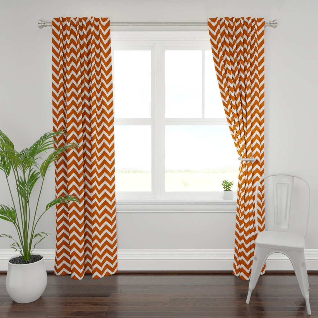Plymouth Curtain Panel featuring orange chevron large scale by amybethunephotography