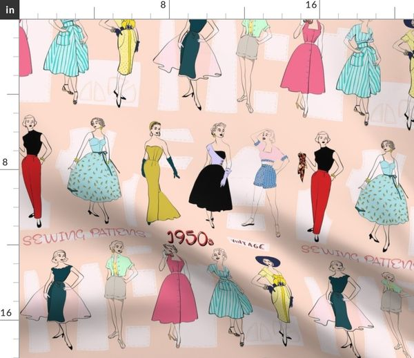 Sewing Patterns of the 1950s - Spoonflower