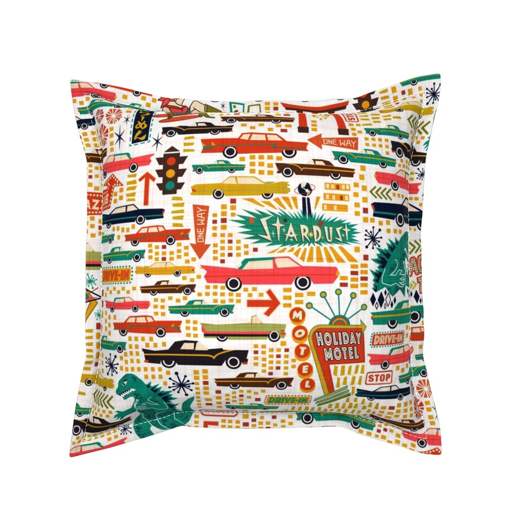 Serama Throw Pillow featuring Surprise! Way Back to 1950s by meliszawang