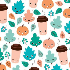 Kawaii autumn leaves and pumpkin spice latte love illustration pattern boys