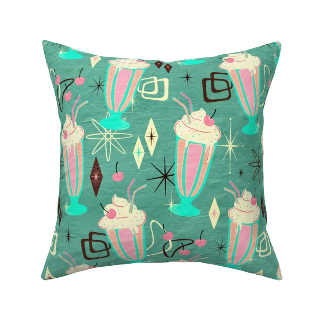 Catalan Throw Pillow featuring Retro 50s Milkshakes - large print by micklyn