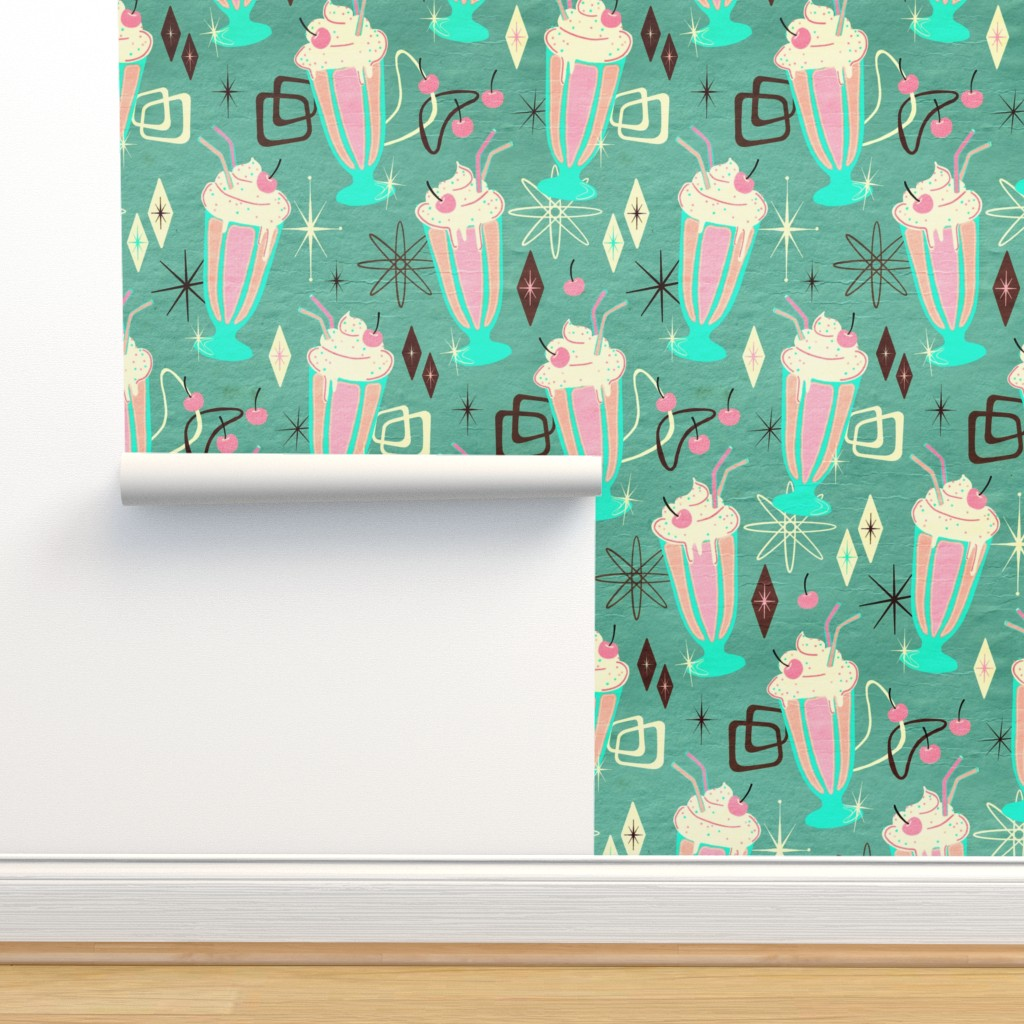 Isobar Durable Wallpaper featuring Retro 50s Milkshakes - large print by micklyn