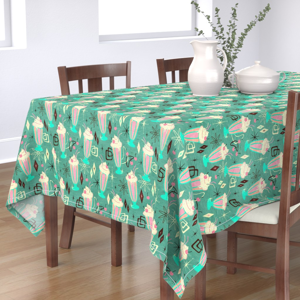 Bantam Rectangular Tablecloth featuring Retro 50s Milkshakes - large print by micklyn