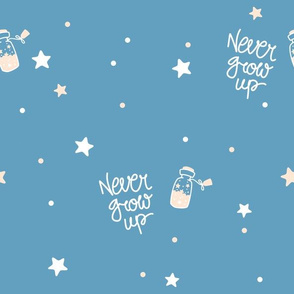 Peter Pan - Never grow up - Coordinate blue - scandinavian minimalist pattern