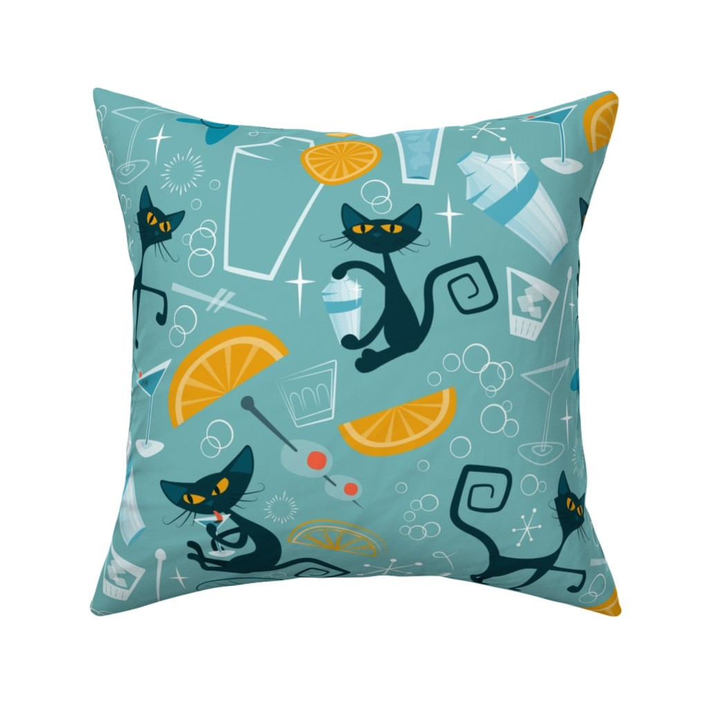 Catalan Throw Pillow featuring 1950s Cats and cocktails by roofdog_designs