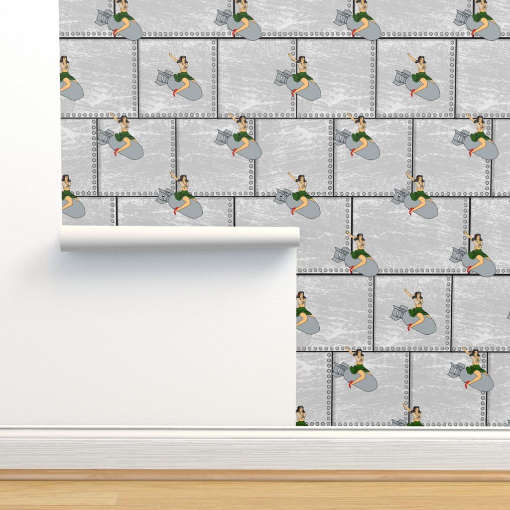 Isobar Durable Wallpaper featuring pinup girl bomber by b0rwear