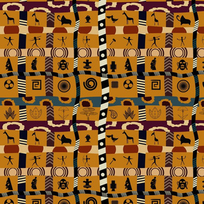 African Mudcloth Patchwork on Gold