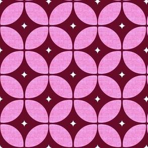 Mid Century Atomic starburst burgundy  floral geo large-ed