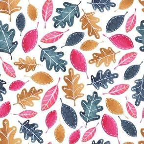 Watercolor Fall Leaves - Pink, Navy, Brown