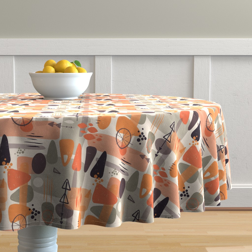 Malay Round Tablecloth featuring 1950s Mid Century Shapes by sandra_hutter_designs