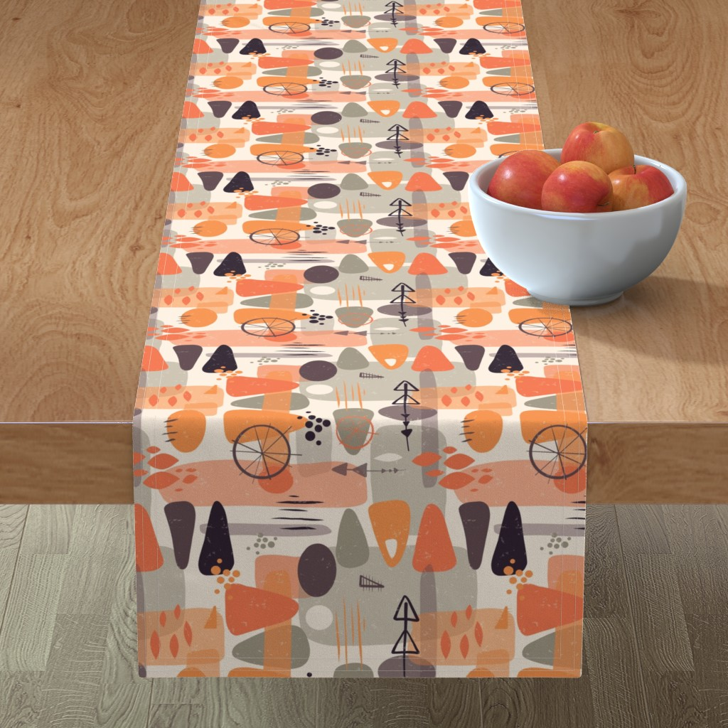 Minorca Table Runner featuring 1950s Mid Century Shapes by sandra_hutter_designs