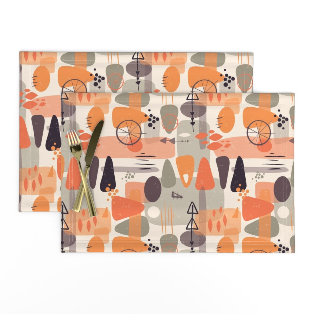 Lamona Cloth Placemats featuring 1950s Mid Century Shapes by sandra_hutter_designs