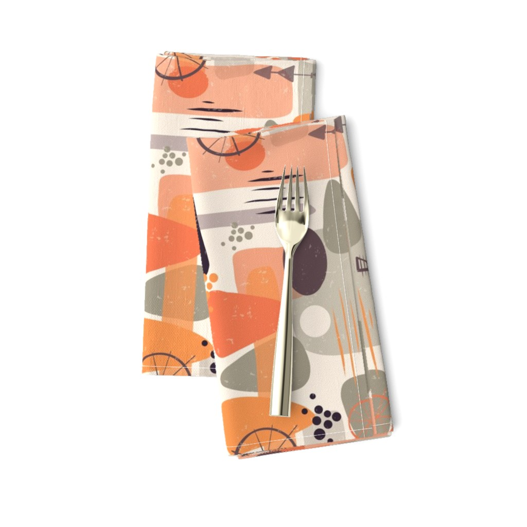 Amarela Dinner Napkins featuring 1950s Mid Century Shapes by sandra_hutter_designs