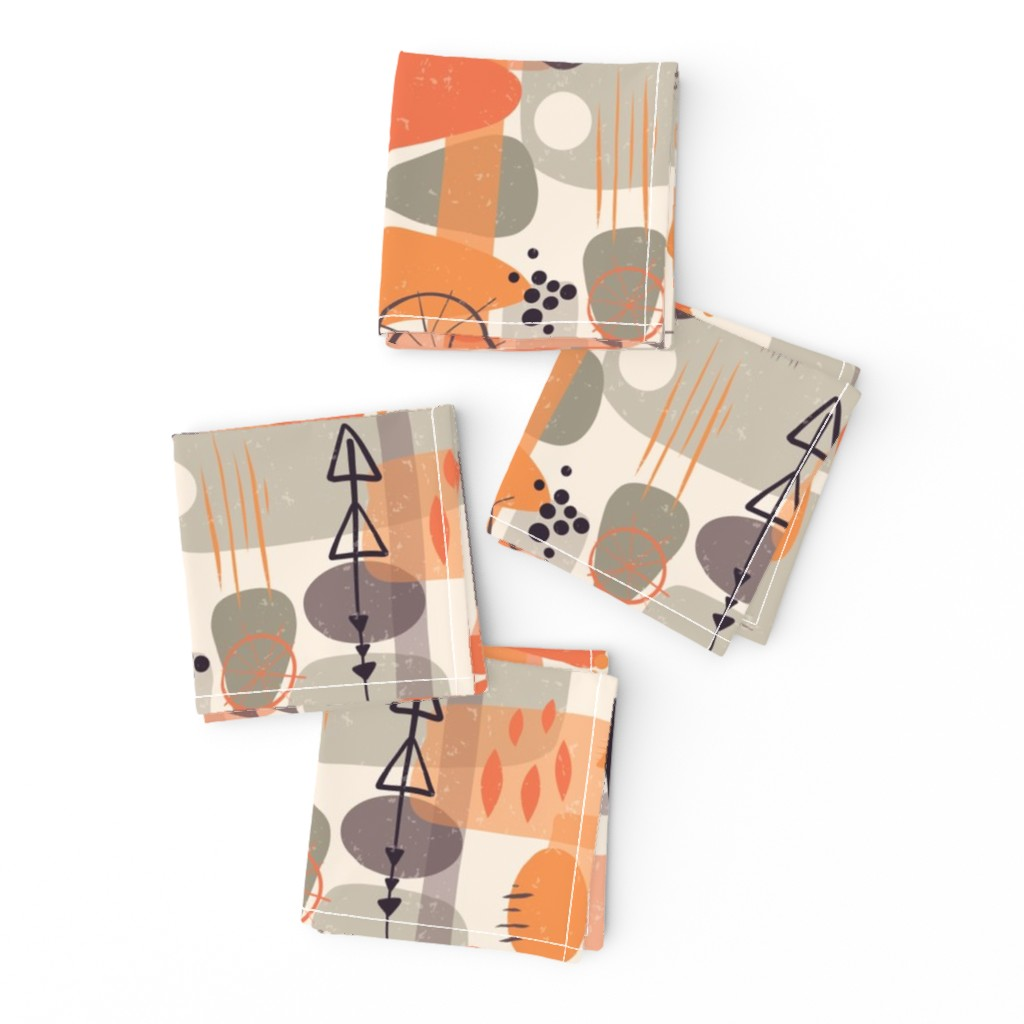 Frizzle Cocktail Napkins featuring 1950s Mid Century Shapes by sandra_hutter_designs