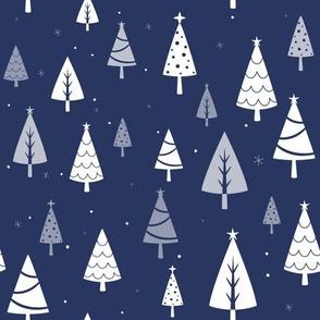 Retro Christmas Tree Pattern on Blue