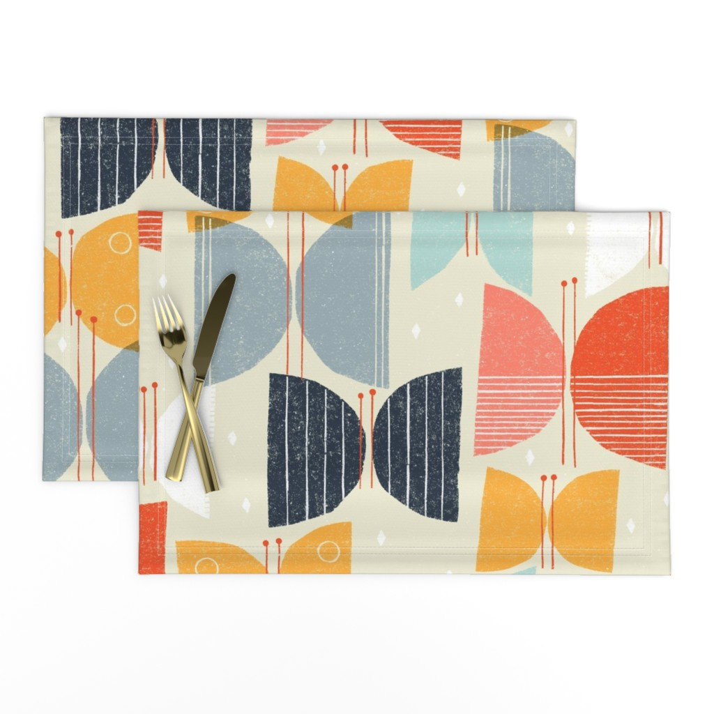 Lamona Cloth Placemats featuring MCM Butterflies M+M Tan by Friztin by friztin