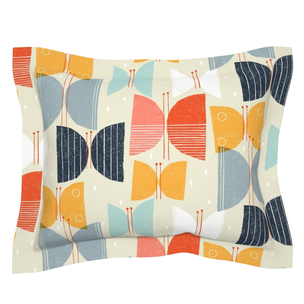 Sebright Pillow Sham featuring MCM Butterflies M+M Tan by Friztin by friztin