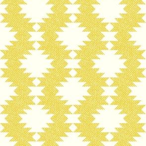 Illuminating Yellow Aztec Kilim White diamonds faux burlap texture large scale Wallpaper Fabric
