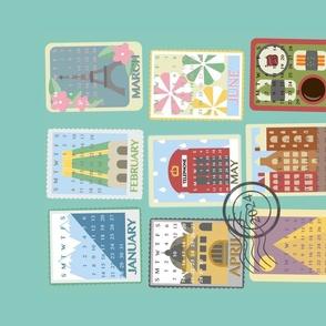 Postcard Calendar Tea Towel 2021