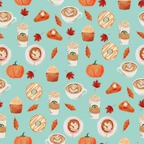 SMALL - watercolor psl - pumpkin spice latte, coffee, latte, pumpkin, fall, autumn fabric - mint