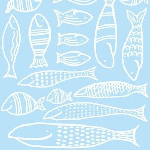 Funky Fish (baby blue & white)