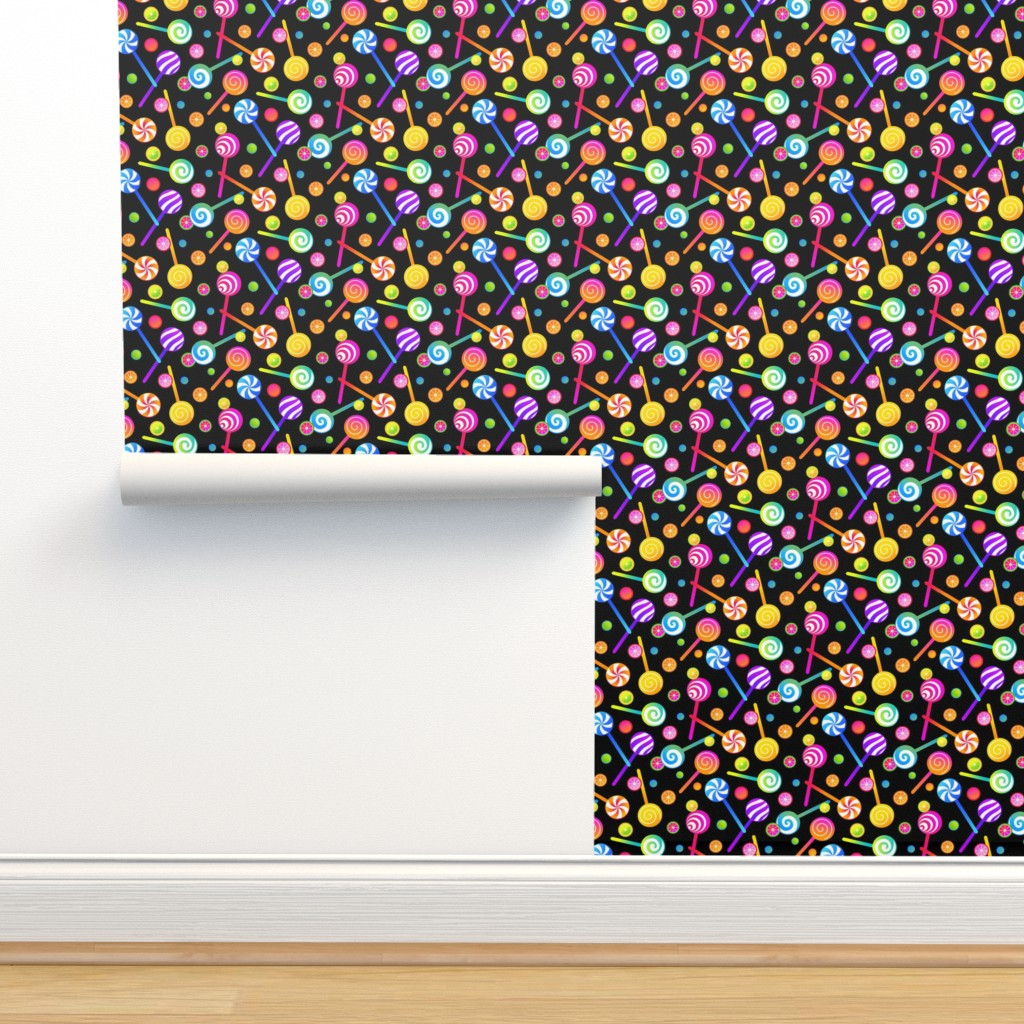 Isobar Durable Wallpaper featuring Lollipops and Fruit Candies on Black by ileneavery