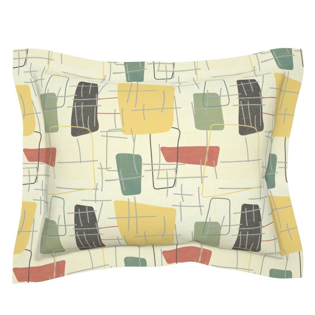 Sebright Pillow Sham featuring Fifties Formica by owlandchickadee