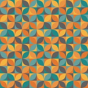 Retro circle mix in teal and orange