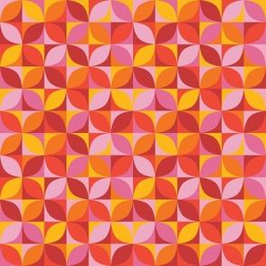 Retro circle mix in red and orange