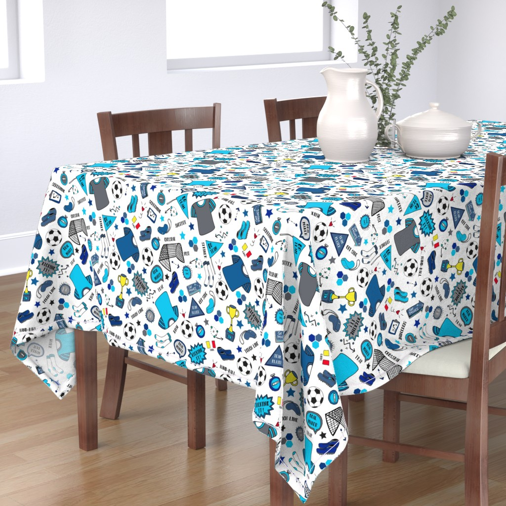 Bantam Rectangular Tablecloth featuring Soccer Fun, Blue tones, large by palifino