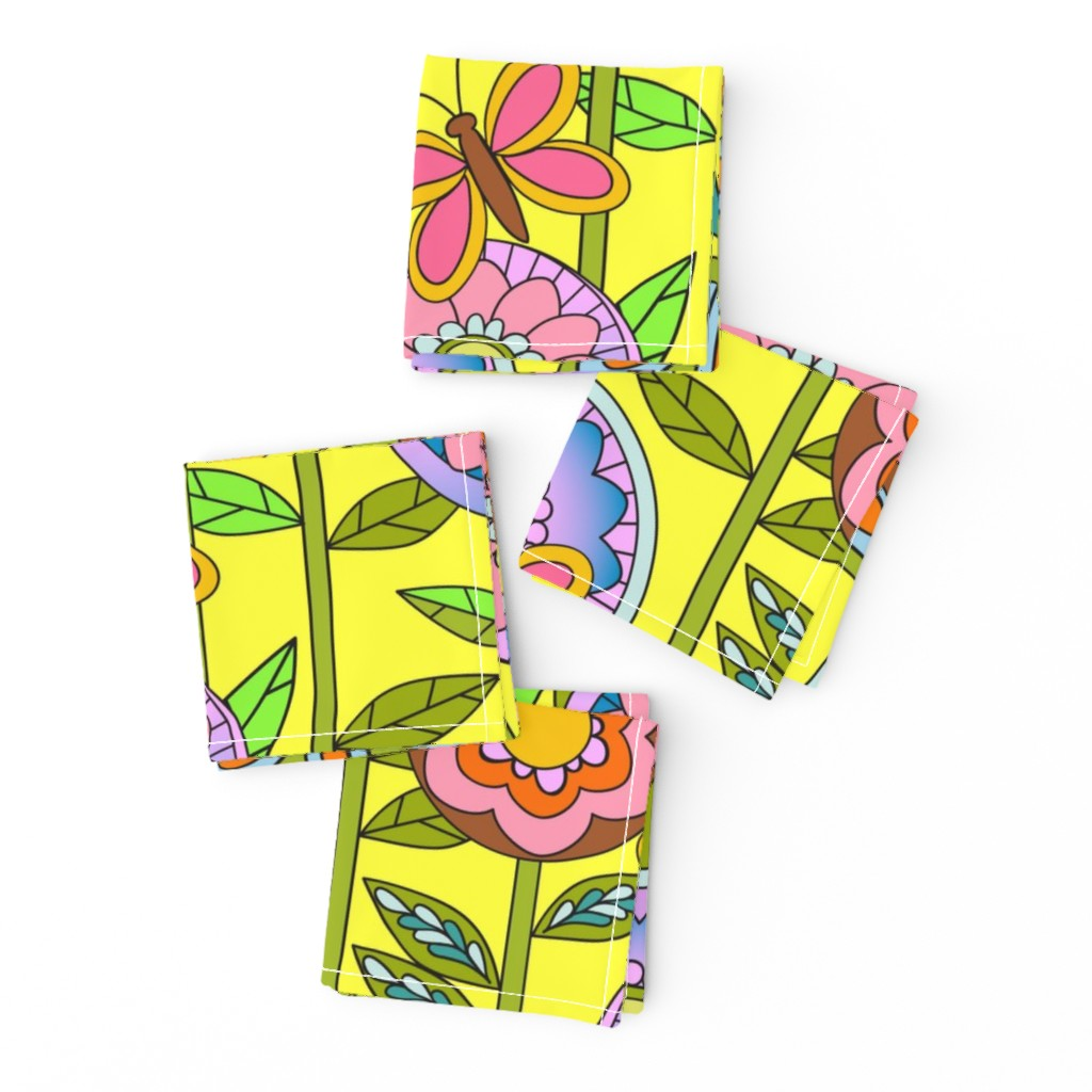 Frizzle Cocktail Napkins featuring 60s Mod Flowers by vinpauld