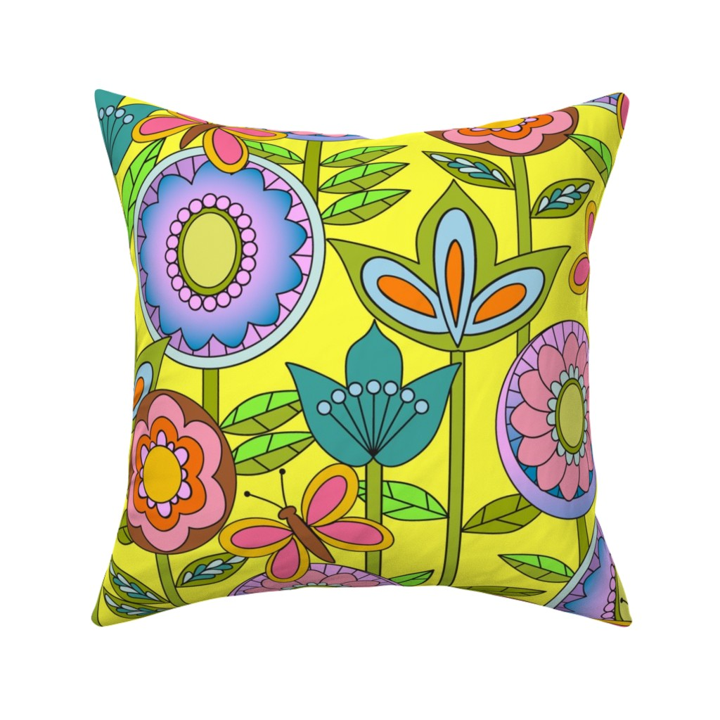 Catalan Throw Pillow featuring 60s Mod Flowers by vinpauld