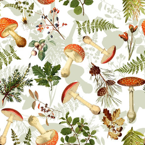"""18"""" Autumn Harvest in the forest - double layer on white-Antique mushroom fabric,mushrooms fabric"""