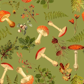 """10"""" Autumn Harvest in the forest on green -Antique mushroom fabric,mushrooms fabric"""