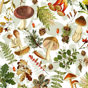 """21"""" Thanksgiving in the forest - double on white-Antique mushroom fabric,mushrooms fabric"""