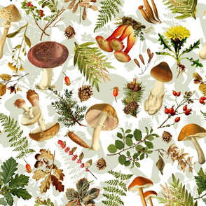 "21"" Thanksgiving in the forest - double on white-Antique mushroom fabric,mushrooms fabric"