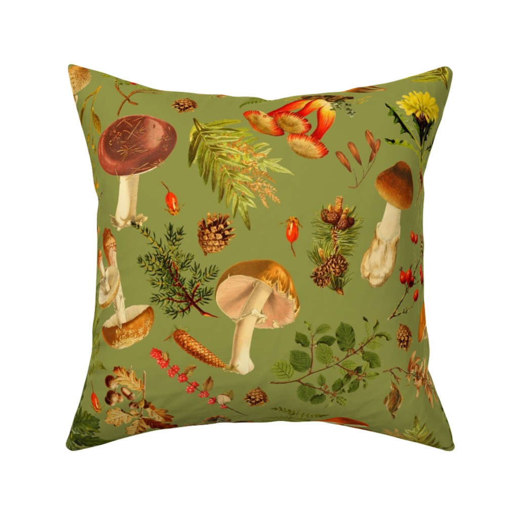 """Catalan Throw Pillow featuring 18"""" Thanksgiving in the Forest on green-Antique mushroom fabric,mushrooms fabric by utart"""