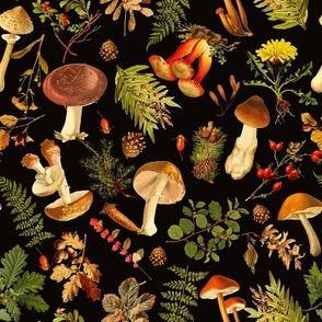 """18""""  Thanksgiving in the forest on black-Antique mushroom fabric,mushrooms fabric"""