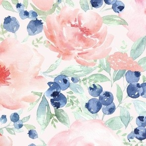 """18"""" pink rose blush florals and bluberries"""