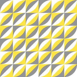 Illuminating yellow, ultimate gray Retro Mid-century diagonal  geometric leaves large scale Wallpaper Fabric