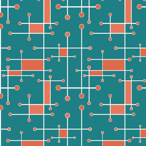 intersecting lines in teal coral and white